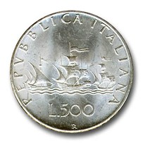 "500 lire in argento ""Caravelle"""