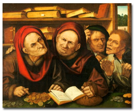 Quentin Matsys, Suppliant Peasants In The Office Of Two Tax Collectors